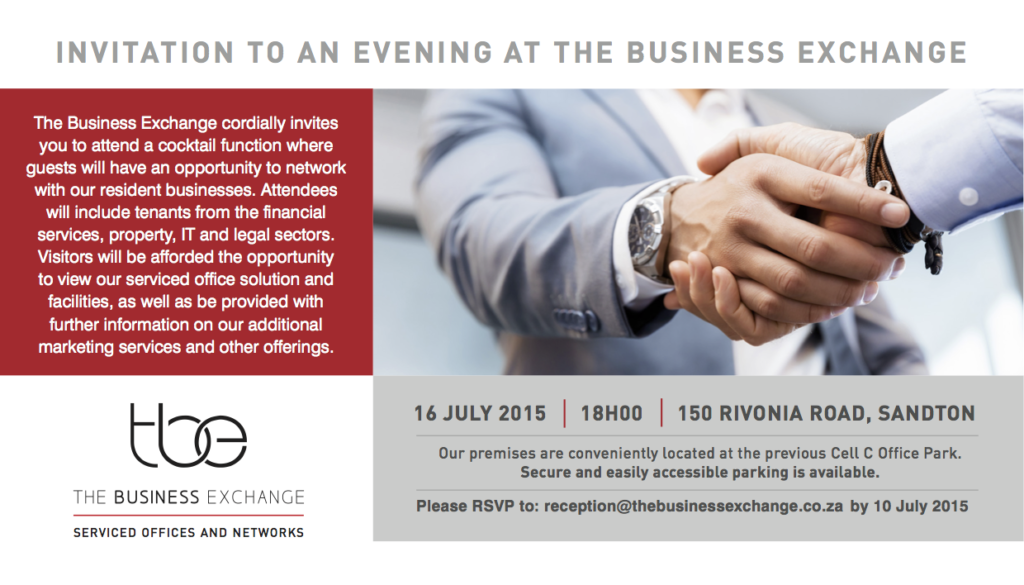 TBE Invitation 16 July RSVP 10 July